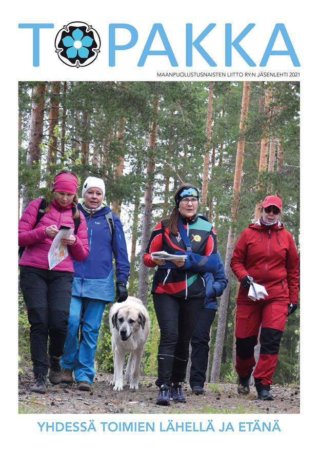Topakka-lehden kannessa keskisuomen maanpuolustusnaisia Saarijärvellä tutustumassa Metso-jotoksen maastoon.